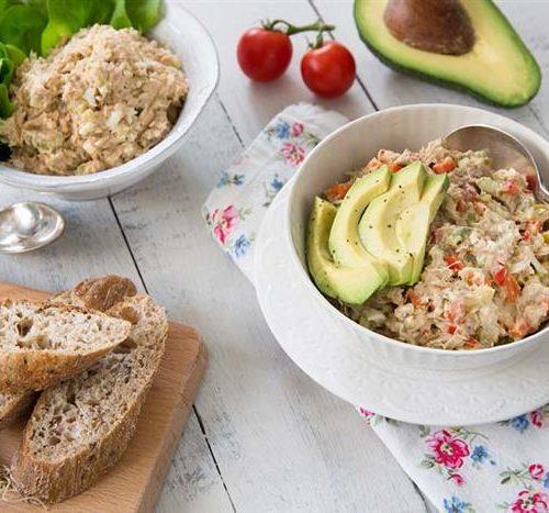 tuna salad with avocado and hard boiled egg